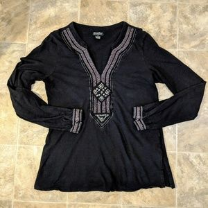 Lucky Brand Long Sleeve Blouse Embellished Neck M